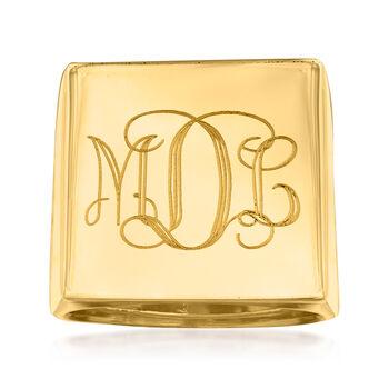 http://www.ross-simons.com - Italian Square Flat-Top Monogram Ring in 14kt Yellow Gold