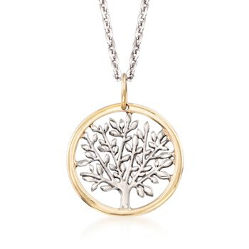 http://www.ross-simons.com - Sterling Silver and 14kt Yellow Gold Tree of Life Pendant Necklace