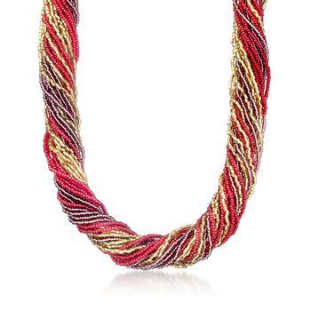 http://www.ross-simons.com - Italian Red, Purple Murano Glass Bead Torsade Necklace, Gold Over Sterling