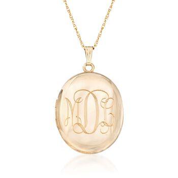http://www.ross-simons.com - 14kt Gold Over Sterling Monogram Locket Necklace