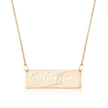 http://www.ross-simons.com - 24kt Gold Over Sterling Silver Openwork Name Bar Necklace
