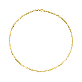 http://www.ross-simons.com - Italian 3mm 18kt Gold Over Sterling Silver Round Omega Necklace