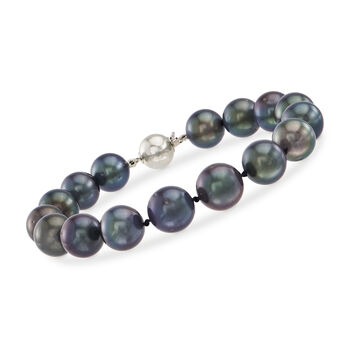 http://www.ross-simons.com - 10mm Black Cultured Tahitian Pearl Bracelet with 14kt White Gold