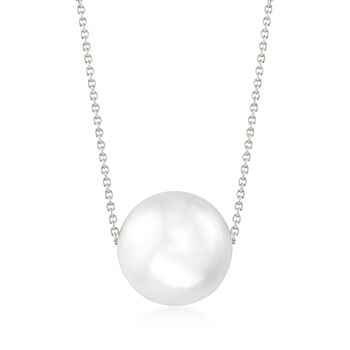 http://www.ross-simons.com - 16mm Shell Pearl Necklace in Sterling Silver