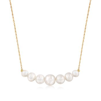 http://www.ross-simons.com - 5-9mm Graduated Cultured Pearl Bar Necklace in 14kt Yellow Gold