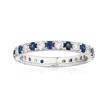 http://www.ross-simons.com - .50ct t.w. Sapphire, .50ct t.w. Diamond Eternity Ring in Gold