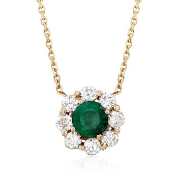 http://www.ross-simons.com - .50ct Emerald, .48ct t.w. Diamond Necklace in 14kt Yellow Gold
