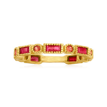http://www.ross-simons.com - .90ct t.w. Ruby, .20ct t.w. Orange Sapphire Ring in Gold Over Silver