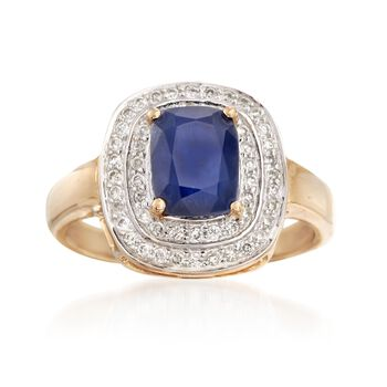 http://www.ross-simons.com - 1.90 Carat Sapphire and .31 ct. t.w. Diamond Ring in 14kt Yellow Gold