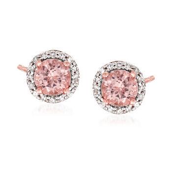 http://www.ross-simons.com - 1.00ct t.w. Morganite, .16ct t.w. Diamond Halo Stud Earrings in Gold