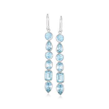 http://www.ross-simons.com - 12.90 ct. t.w. Sky Blue Topaz Drop Earrings in Sterling Silver