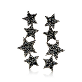 http://www.ross-simons.com - 1.70 ct. t.w. Black Spinel Star Ear Climbers in Sterling Silver