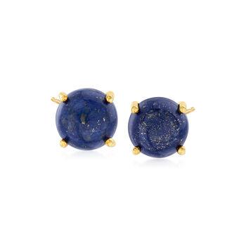 http://www.ross-simons.com - 8mm Lapis Stud Earrings in 14kt Gold Over Sterling