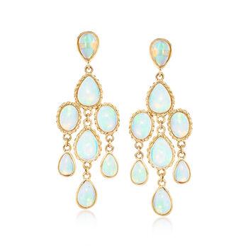 http://www.ross-simons.com - Ethiopian Opal Chandelier Earrings in 14kt Yellow Gold