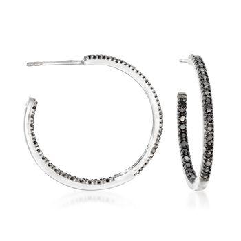 http://www.ross-simons.com - 1.20ct t.w. Black Spinel Inside-Outside Hoop Earrings in Silver
