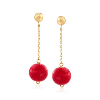 http://www.ross-simons.com - 10.5-11mm Red Coral Bead Drop Earrings in 14kt Yellow Gold