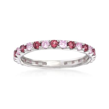 http://www.ross-simons.com - .60ct t.w. Rhodolite, .50ct t.w. Pink Sapphire Eternity Ring in Silver
