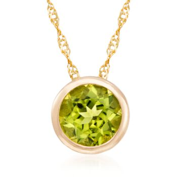 http://www.ross-simons.com - .90 Carat Bezel-Set Peridot Pendant Necklace in 14kt Yellow Gold