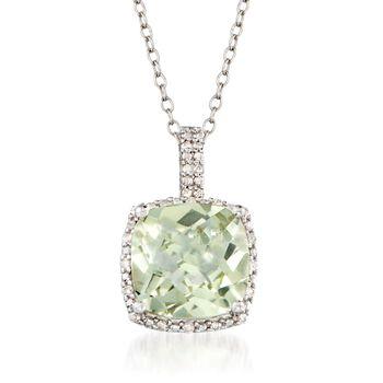 http://www.ross-simons.com - 4.00ct Prasiolite, .10ct t.w. Diamond Pendant Necklace in Silver