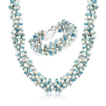 http://www.ross-simons.com - Aquamarine Bead, 5-6mm Cultured Pearl Torsade Necklace, Free Bracelet