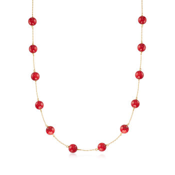 http://www.ross-simons.com - Red Coral Bead Station Necklace in 14kt Yellow Gold