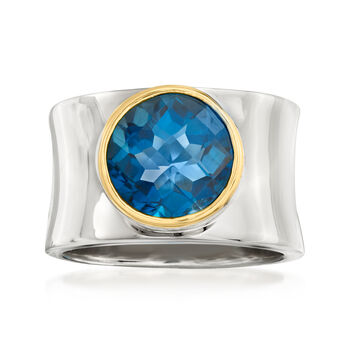 http://www.ross-simons.com - 4.70ct London Blue Topaz Curved Ring in Silver, 14kt Yellow Gold