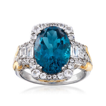 http://www.ross-simons.com - 6.70ct t.w. London Blue, White Topaz Ring in Two-Tone Silver