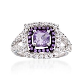 http://www.ross-simons.com - 2.80ct t.w. Amethyst, .90ct t.w. White Synthetic Sapphire Ring