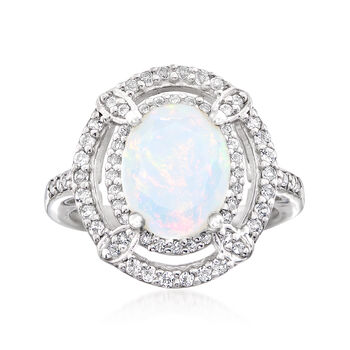 http://www.ross-simons.com - Opal and .20 ct. t.w. White Topaz Ring in Sterling Silver