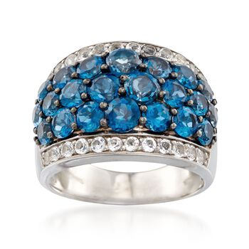 http://www.ross-simons.com - 5.00 ct. t.w. London Blue and White Topaz Ring in Sterling Silver