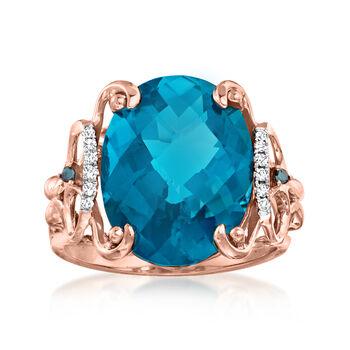 http://www.ross-simons.com - 10.00ct London Blue Topaz Ring, Blue, White Diamond Accents in Gold