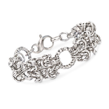 http://www.ross-simons.com - Italian Sterling Silver Byzantine and Textured Circle Bracelet