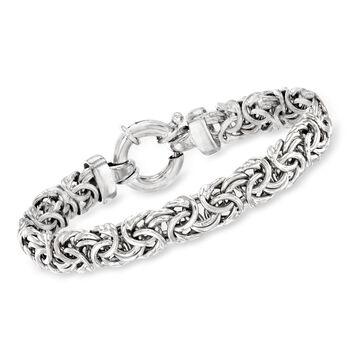 http://www.ross-simons.com - Italian Sterling Silver Medium Byzantine Bracelet