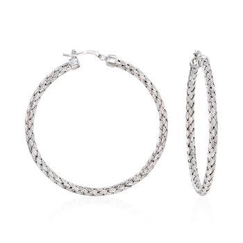 """http://www.ross-simons.com - Charles Garnier """"Milan"""" Sterling Silver Large Hoop Earrings"""