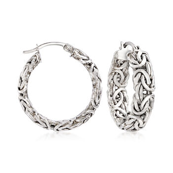 http://www.ross-simons.com - Sterling Silver Small Byzantine Hoop Earrings