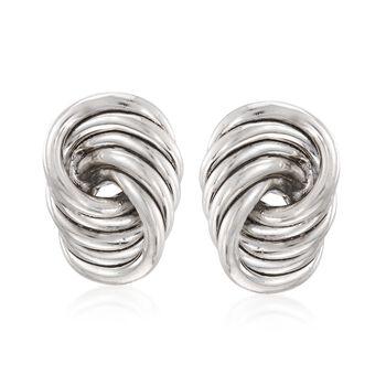 http://www.ross-simons.com - Sterling Silver Large Spiral Knot Clip-On Earrings