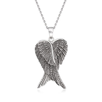 http://www.ross-simons.com - Sterling Silver Angel Wing Pendant Necklace