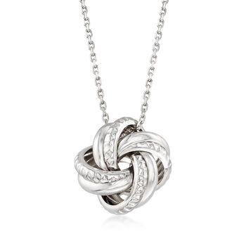 http://www.ross-simons.com - Italian Sterling Silver Love Knot Pendant Necklace
