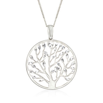 http://www.ross-simons.com - Italian Sterling Silver Cut-Out Tree of Life Pendant Necklace