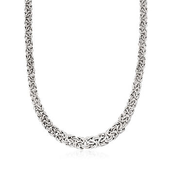 http://www.ross-simons.com - Italian Sterling Silver Graduated Byzantine Necklace