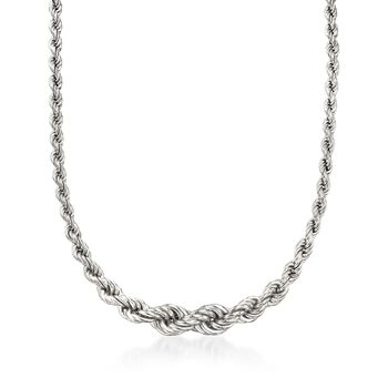 http://www.ross-simons.com - Italian Sterling Silver Graduated Rope Chain Necklace