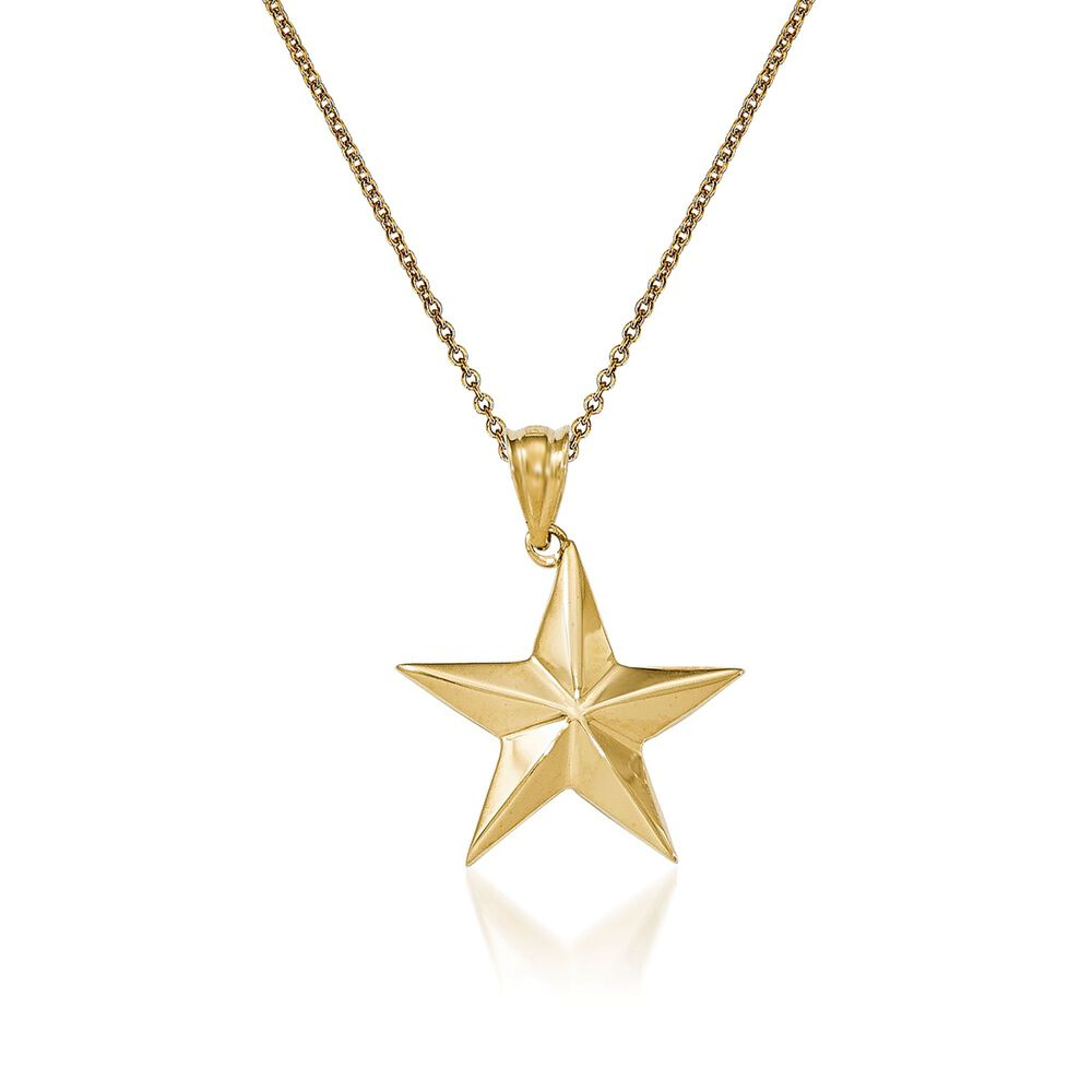 14kt yellow gold star pendant necklace 18 ross simons 14kt yellow gold star pendant necklace 18quot default mozeypictures Gallery