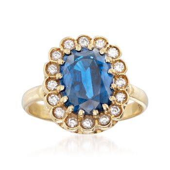 C. 1970 Vintage 4.25 Carat Sapphire and .40 ct. t.w. Diamond Ring in 18kt Yellow Gold. Size 8.25, , default
