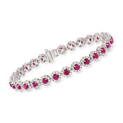 5.50 ct. t.w. Ruby and 3.00 ct. t.w. Diamond Tennis Bracelet in 14kt White Gold, , default