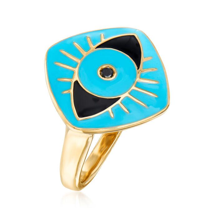 Black and Blue Enamel Evil Eye Ring in 18kt Gold Over Sterling