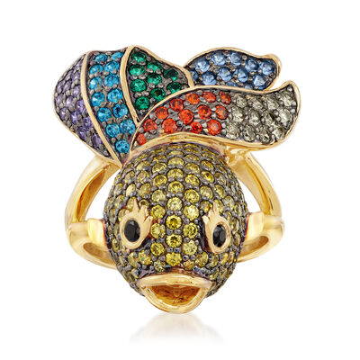 3.00 ct. t.w. Multicolored CZ Fish Ring in 18kt Gold Over Sterling, , default