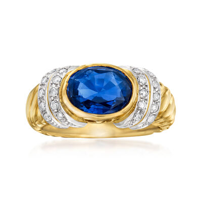 C. 1980 Vintage 2.71 Carat Sapphire and .26 ct. t.w. Diamond Ring in Platinum and 18kt Yellow Gold