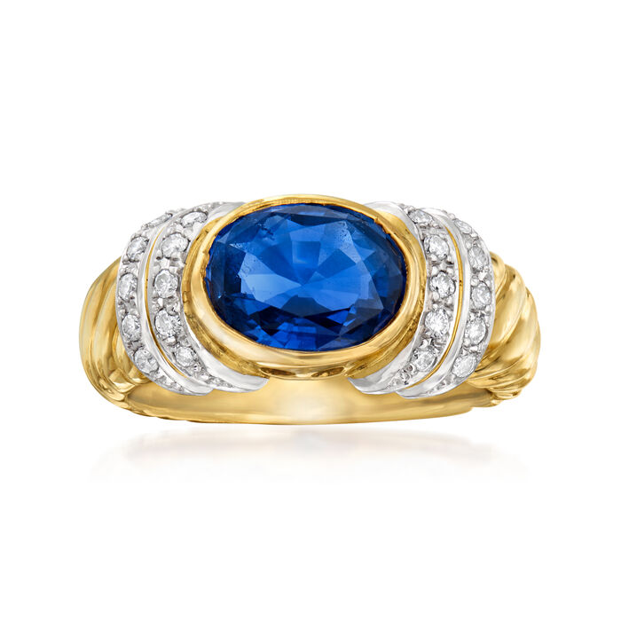 C. 1980 Vintage 2.71 Carat Sapphire and .26 ct. t.w. Diamond Ring in Platinum and 18kt Yellow Gold. Size 6.5