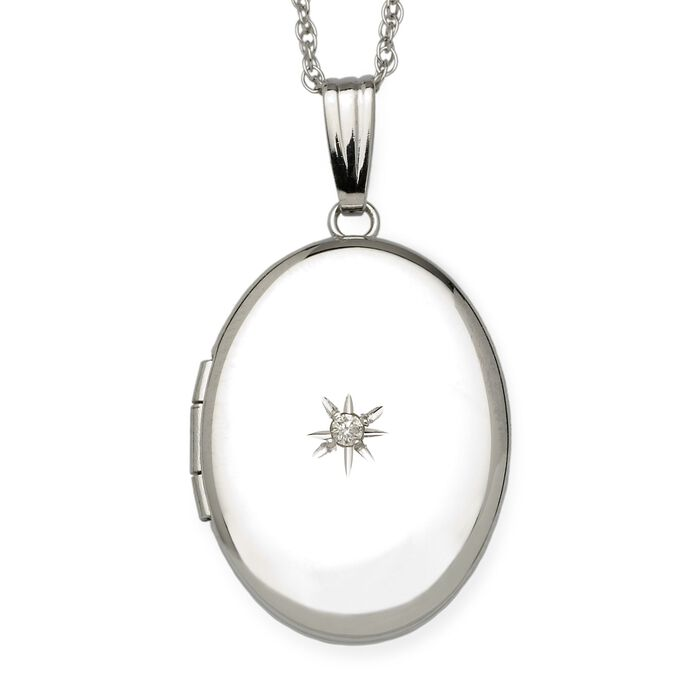 "Diamond Accent Oval Locket Necklace in 14kt White Gold. 18"", , default"