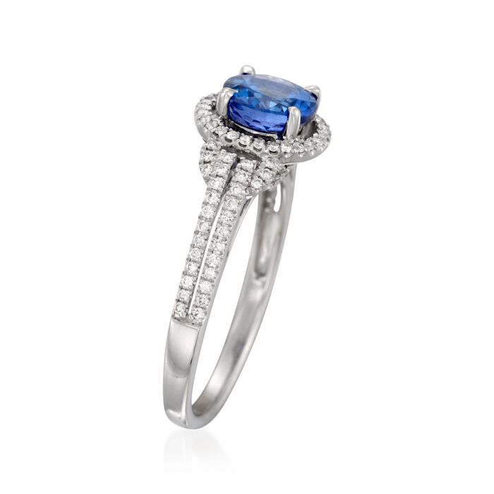 Simon G. 1.00 Carat Tanzanite and .30 ct. t.w. Diamond Ring in 18kt White Gold